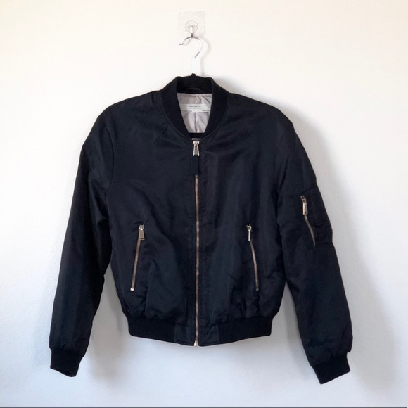 Zara Jackets Coats Women Black Bomber Jacket With Gold Detailing